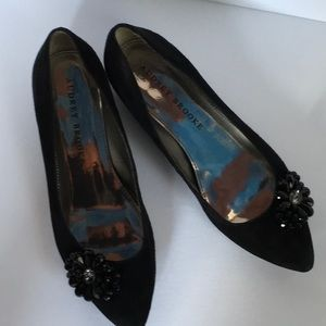 Black suede holiday flats size 8